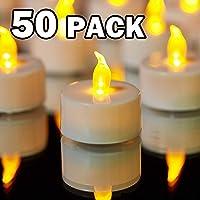 YIWER 50 unidades LED Velas CR2032 pilas velas sin llama,Velas de té,Velas LED,Velas parpadeantes sin Llama,Velas Artificiales realistas a Pilas con luz Amarilla cálida,50pcs