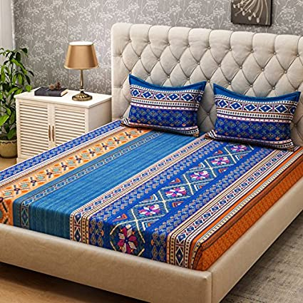 9e12313d6a Buy Bombay Dyeing Amber 120 TC Microfibre Double Bedsheet with 2 Pillow  Covers - Blue Online at Low Prices in India - Amazon.in