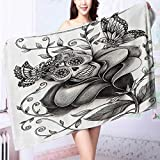 Auraise Home Made of 100% Premium Cotton Skull of the Dead Catholic Butterfly Rose Flower Holi Culture Lightweight, High Absorbency L39.4 x W19.7 INCH