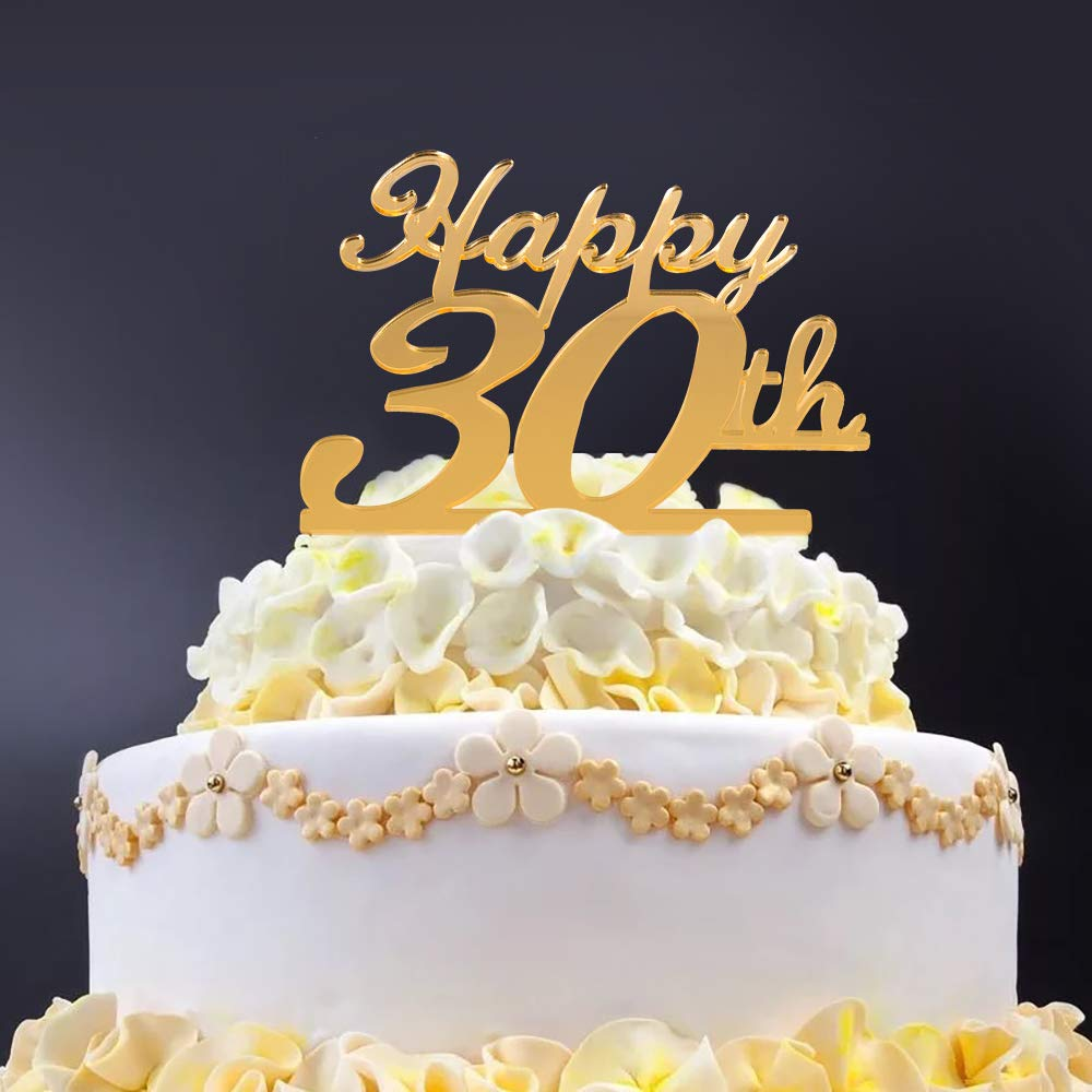 Golden 30th Birthday Cake Topper30th Party Decoration30th Acrylic TopperCellebration Anniversary Cupcake Topper