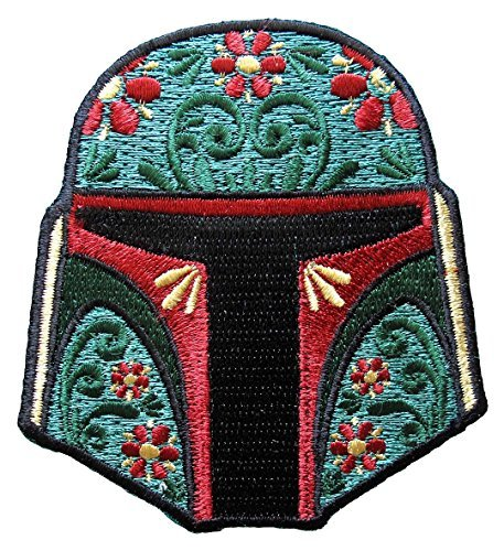 Star Wars Boba Fett Floral Helmet Iron-On Patch (Fett Helmet)