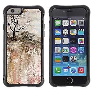 Suave TPU Caso Carcasa de Caucho Funda para Apple Iphone 6 / Painting Art Rock Cliff Tree / STRONG