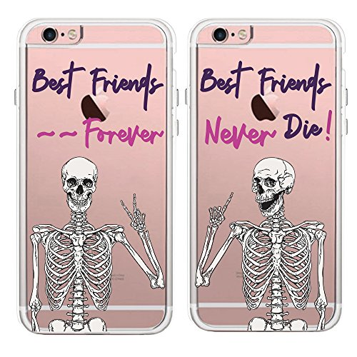 TRFAEE Creative Best Friends Forever Couples Matching Skulls Skeletons Partners Clear Soft TPU Rubber Anti Scratch Shock Absorption Protective Cases Covers