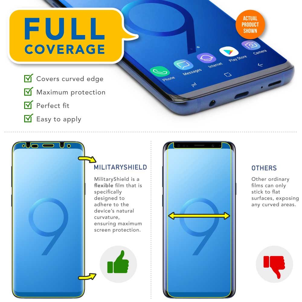 ... Protector MilitaryShield + Full Body Clear Skin MilitaryShield Back Film Protector for Galaxy S9 - HD Clear Anti-Bubble Film: Cell Phones & Accessories