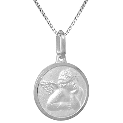 94635df7e4f Small Sterling Silver Guardian Angel Medal Necklace 5/8 inch Round Italy 16  inch Box_015 | Amazon.com