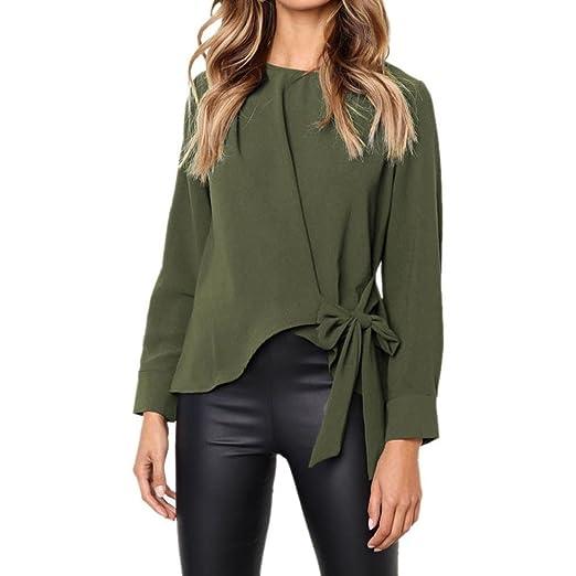 32730911a25 JOFOW Women Casual Long Sleeve Irregular Tie Bowknot Belt Loose Blouse Top  Shirt (S,