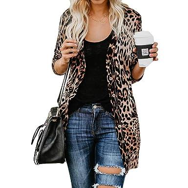 c71ba4c73b71f5 HARRYSTORE Leopard Print Batwing Sleeve Kimono Cardigan Tunic Chiffon Cover  Up Lady Tops Shawl  Amazon.co.uk  Clothing