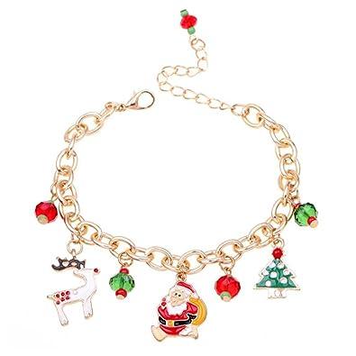 meilleur service a35d3 bc3b0 SODIAL Bracelet en Or Bracelet a Chaine de Pendentif de Pere Noel Bijoux de  Mariage de Fete des Filles et des Femmes Cadeau de Noel