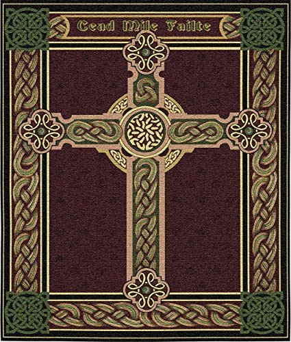 Pure Country Weavers Celtic Irish Cross One Thousand Blessings | Woven Tapestry Wall Art Hanging | Celtic Tribal Knot Design | 100% Cotton USA Size 34x27 ()