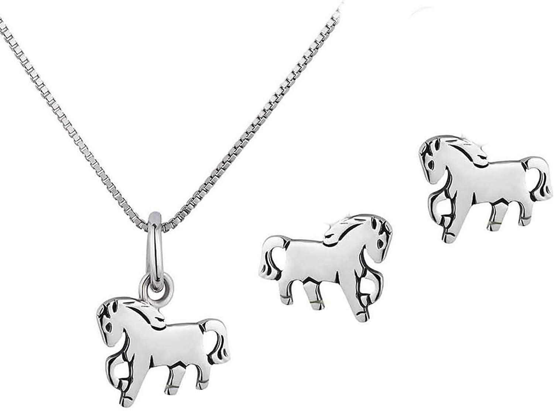 FIVE-D Anh/änger mit Kette Kinderohrringe Pony Pferd 925 Silber im Schmucketui