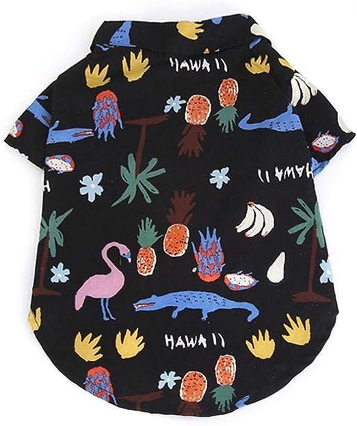 AUOKER Camisa Hawaiana para Perros, Transpirable y cómoda Playera de Verano de Manga Corta para Perro con botón, Colorido Estampado para Mascotas, Disfraz para Perros, Cachorros, Gatos: Amazon.es: Productos para mascotas
