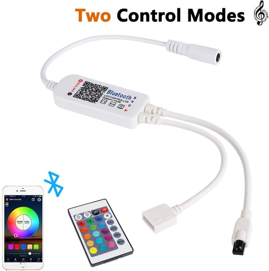 Controlador Bluetooth para Tira de Luz LED, ALED LIGHT Control Inteligente Controlador Inalámbrico Bluetooth Tiras Luces LED con 24 Teclas Control Remoto IR para Luces de Banda RGB