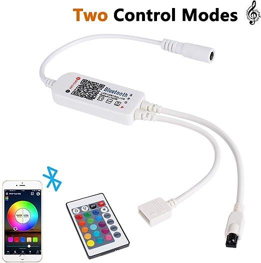 Controlador Bluetooth para Tira de Luz LED, ALED LIGHT Control Inteligente Controlador Inalámbrico Bluetooth Tiras Luces LED con 24 Teclas Control Remoto IR para Luces de Banda RGB: Amazon.es: Iluminación