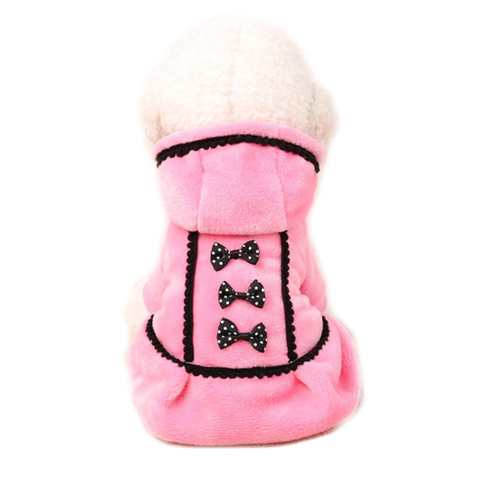 Boomboom Newest Lovely Winter Warm Bowknot Pet Puppy Dog Coat Clothes (S, Pink)