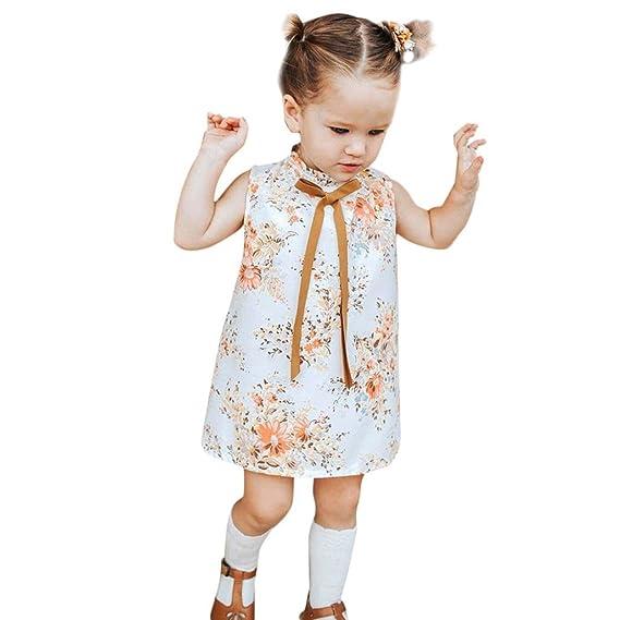 K-youth Vestido de niña Niña Sin Manga Bowknot Floral Tutú Vestidos de Fiesta de