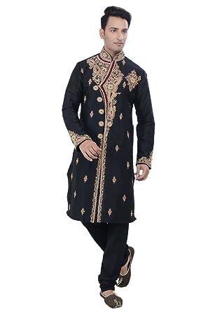 22857bda2 Rajwada Ethnic Indian Design Black Kurta Sherwani for Men 2pc Suit's (Small)
