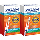 Zicam Cold Remedy Nasal Swabs, 20 Count (Pack of 2), Cold-Shortening Nasal Swabs with Menthol & Eucalyptus, Proven to Shorten Colds