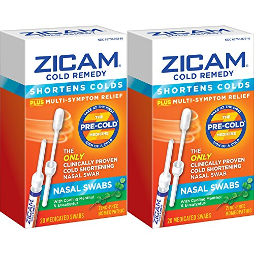 Sore Swabs (Zicam Cold Remedy Nasal Swabs, 20 Count (Pack of 2), Cold-Shortening Nasal Swabs with Menthol & Eucalyptus, Proven to Shorten Colds)