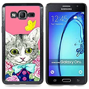 Stuss Case / Funda Carcasa protectora - Kit Gatito Gato rosado de la mariposa - Samsung Galaxy On5 O5
