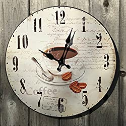 Whole House Worlds The Fresh Coffee With Beans Analog Wall Clock for Coffee Lovers, Metal, Quartz Movement, Antique Café Style, 11 ¾? Diameter, Battery Powered By