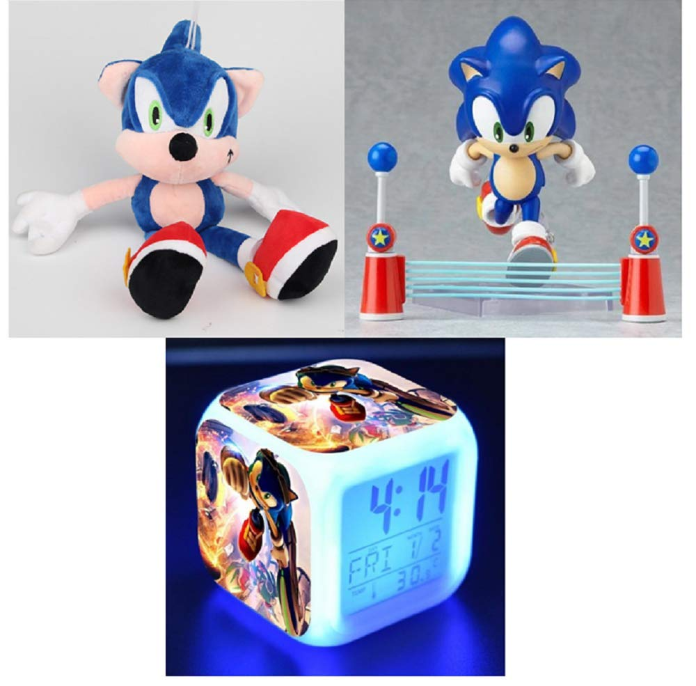 RomanLabs RLLLC Sonic The Hedgehog Action Figure PVC Plush Soft Stuffed Toy LED 7 Colors Touch Light Alarm Desk Clock Set by RomanLabs