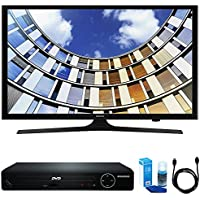 Samsung UN43M5300 Flat 43 LED 1920x1080p 5 Series Smart TV (2017 Model) w/ HDMI DVD Player Bundle Includes, HDMI 1080p High Definition DVD Player, 6ft High Speed HDMI Cable and LED TV Screen Cleaner