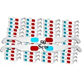 (50x white frame) - 50 Pairs - FLAT- 3D Glasses Red and Cyan WHITE Frame Anaglyph Cardboard