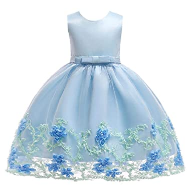 46ffb2153357 Girl s Kids New Flower Floral Prom Gown Princess Children s Birthday  Sleeveless Dress Costume Baby Bow Performance