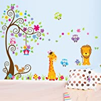 FUNCOCO Cute Giraffe Owl Wall Stickers Removable Wall Decal Sticker DIY Art Decor Mural Vinyl Home Room Office Decals