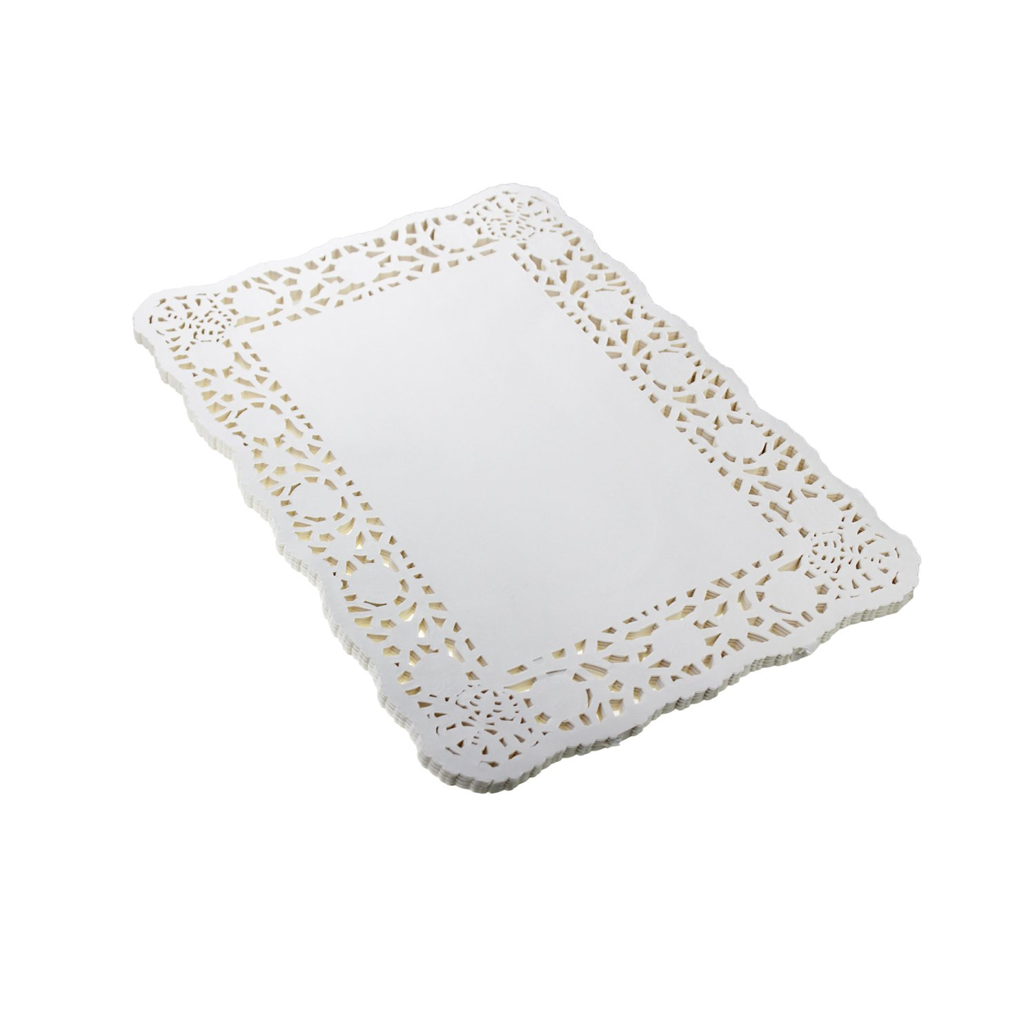 LJY 100 Pieces White Lace Rectangle Paper Doilies Cake Packaging Pads Wedding Tableware Decoration (10.5'' x 14.5'')