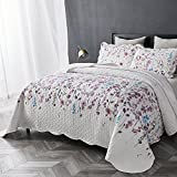 Bedsure Printed Quilt Coverlet Set King(106''x96'') Lilac Floral Pattern Lightweight Hypoallergenic Microfiber Bouquet