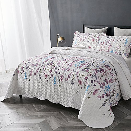For Sale! Bedsure Printed Quilt Coverlet Set Full/Queen(86x96) Lilac Floral Pattern Lightweight Hy...