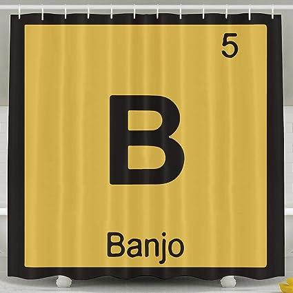 Amazon B Banjo Music Chemistry Periodic Fashion Shower Curtain