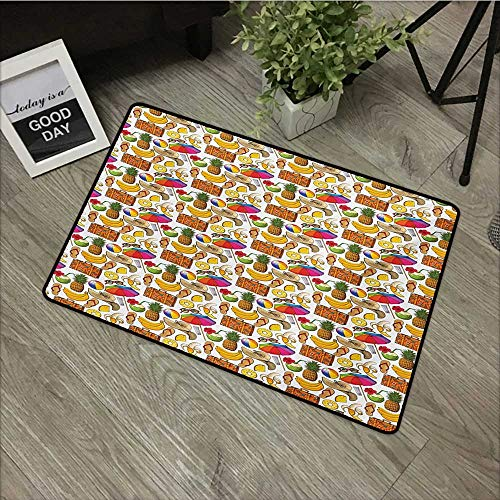 Anzhutwelve Summer,Custom Floor Mat Vacation Themed Illustration with Straw Hat Banana Flip Flops and Travel Suitcase W 20