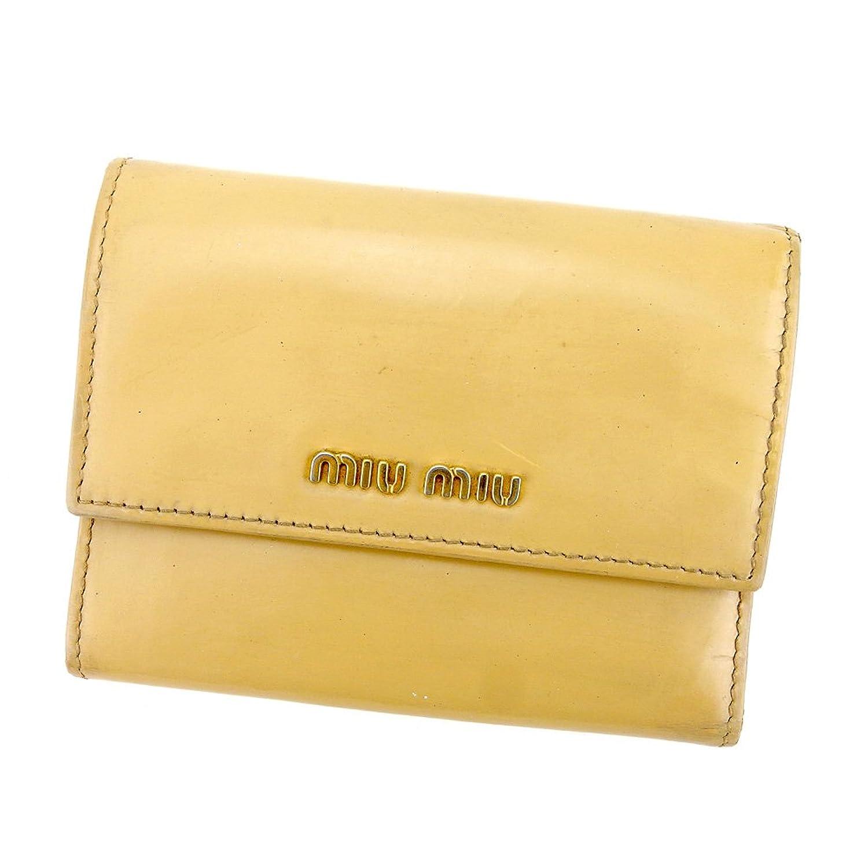 [ミュウミュウ] miu miu 三つ折り 財布 レディース ロゴ 中古 L2022 B0789N27H8