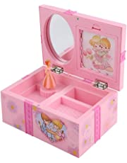 Children Music Box Toy Girls Cartoon Pink Jewelry Mirror Storage Plastic Case with Rotary Dancing Princess