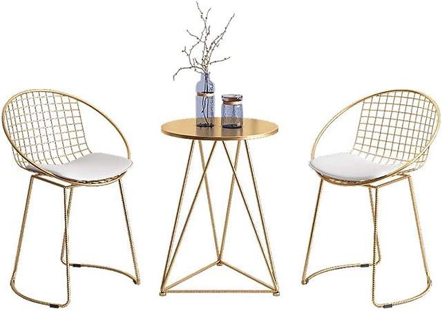 1 Mesa y 2 Juegos de sillas - Sillas de Comedor/Balcón casero/Cafetería de Ocio/Tienda de té con Leche de Postre - Base de Hierro Forjado de Oro Resistente: Amazon.es: Hogar