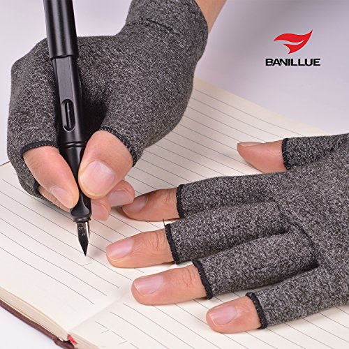 Banillue Compression Arthritis Gloves, Fingerless Hand Gloves for Rheumatoid & Osteoarthritis - Joint Pain and Carpel Tunnel Relief-Men & Women -Small by BANILLUE (Image #3)