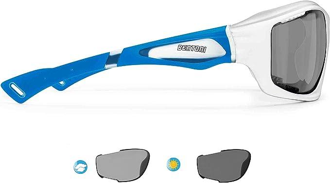 BERTONI Gafas de Sol Deportivas Polarizadas Fotocromáticas para Deporte Ciclismo MTB Pesca Esqui Golf Running Kitesurf - P1000FT Italy (Blanco - Azul Mate): Amazon.es: Deportes y aire libre
