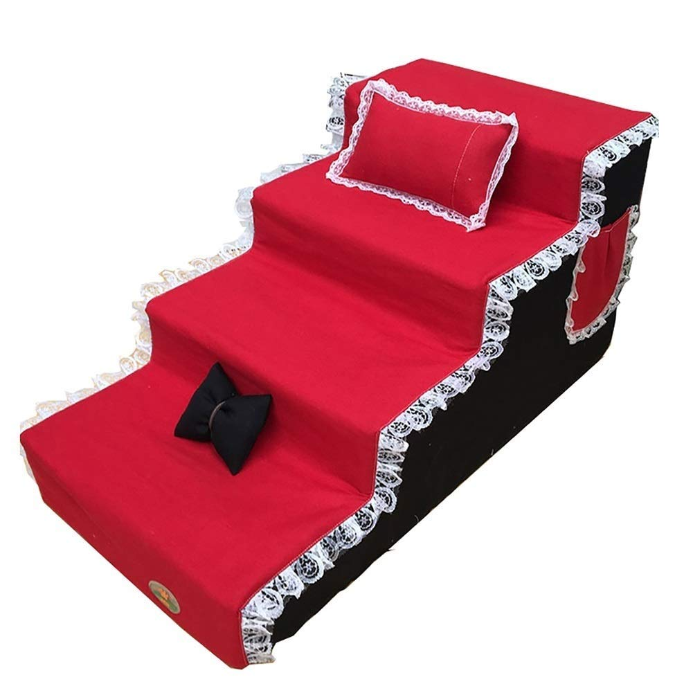 Red 80x40x40cm red 80x40x40cm Pet stairs 4-step Ramp Portable Breathable Washable Dog Activity Ladder Non-slip Durable Pet Supplies Sofa Ladder Cushion With Storage Bag Pillow (color   Red, Size   80x40x40cm)