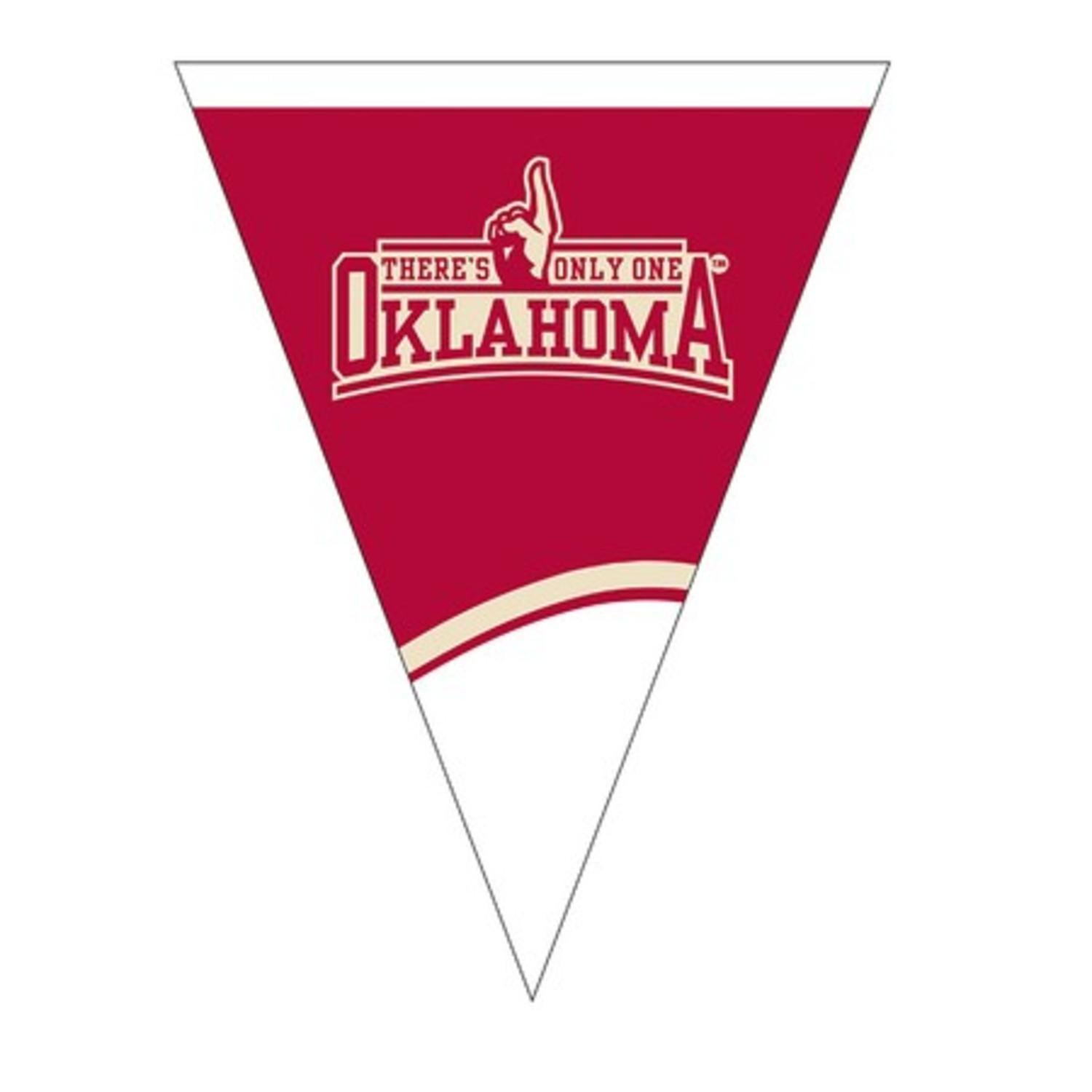 Club Pack of 12 NCAA University of Oklahoma Plastic Flag Party Decoration Banner 8.5'