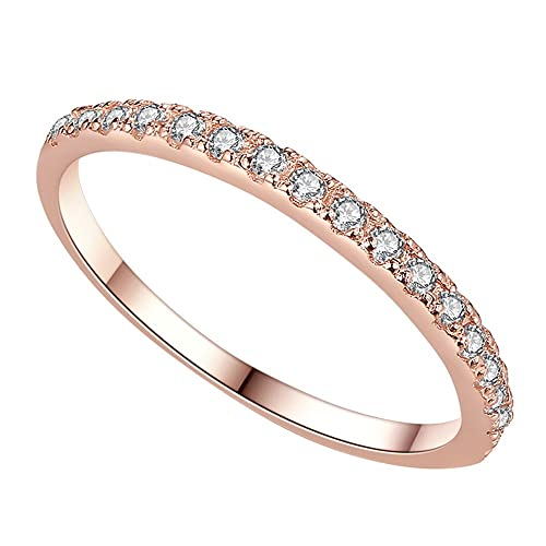 51ec5072b Anniversary Wedding Band Ring with Diamond #6-9,Rose Gold Plated Stainless  Steel High Polish Plain Dome Tarnish Resistant for Women & Men, Girls & Boys