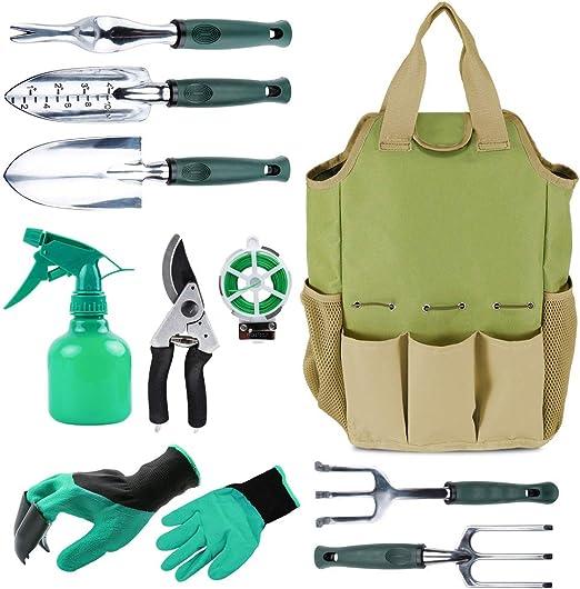 Herramienta de jardín organizador bolsa con 10 piezas herramientas de jardín, mejor Set de regalo de jardinería, verduras Kit de herramienta de jardín, herramientas de jardinería mano set bolsa: Amazon.es: Jardín