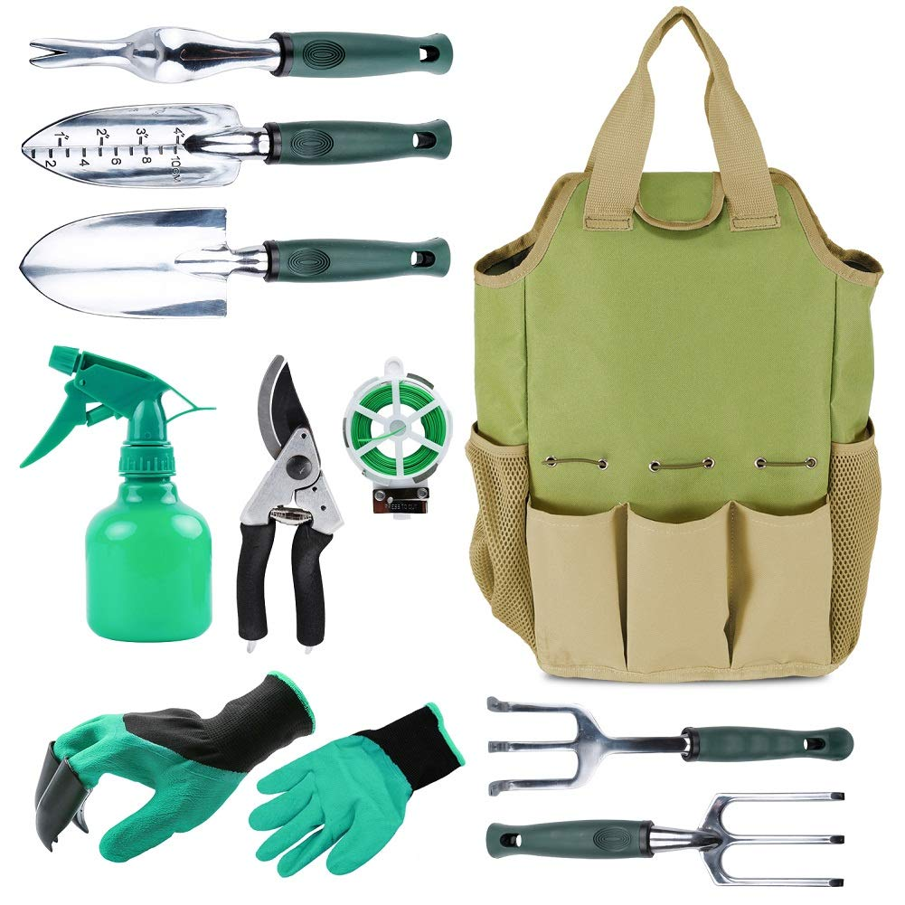 . INNO STAGE Gardening Tools Set and Organizer Tote Bag with 10 Piece Garden  Tools Best Garden Gift Set Vegetable Gardening Hand Tools Kit Bag with