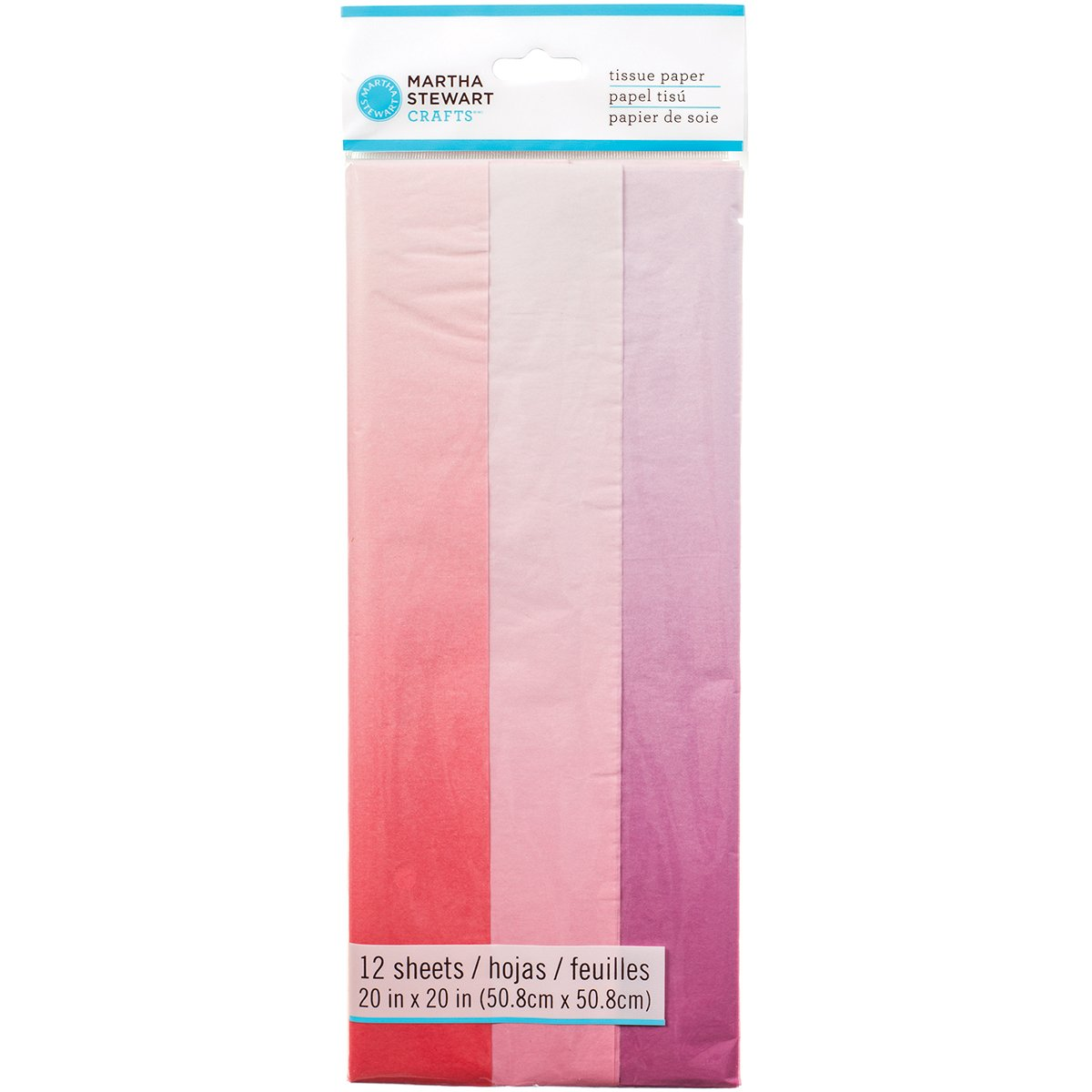 12 Pack 20 by 20 MARTHA STEWART Tissue Paper Pink Ombre