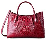 PIFUREN Women Top Handle Satchel Handbags Crocodile Leather Tote Bag C69678( Dark Red)