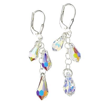 098531e06 Amazon.com: Sterling Silver Earrings Aurora Borealis Multi-Teardrop Made  with Swarovski Crystals: Dangle Earrings: Jewelry