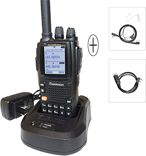 WouXun KG-UV9D Plus Two-Way Radio Dual-Band Walkie Talkie, 7 Bands Included Air Band, 136-174MHz 400-512MHz with Headset USB Programming Cable