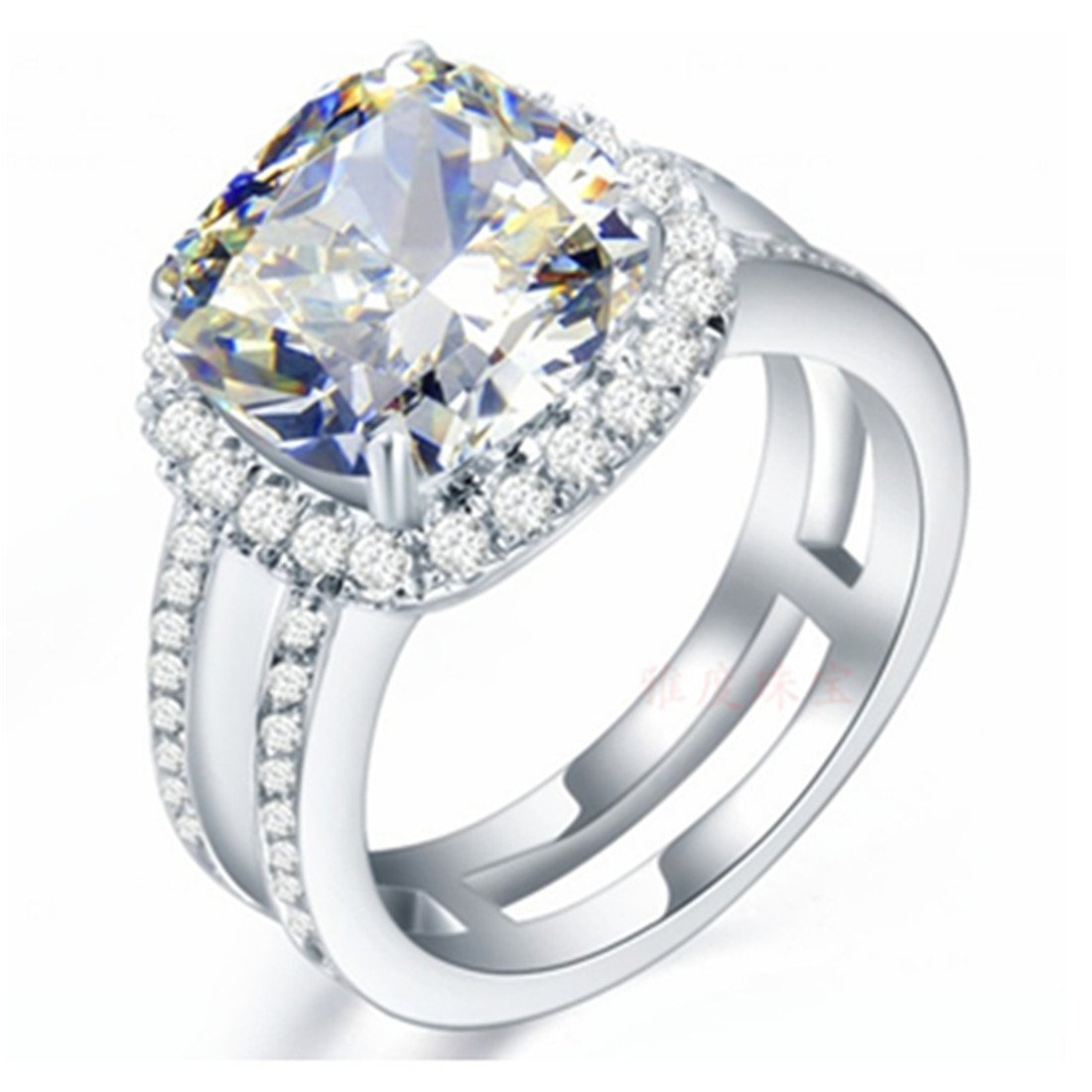3CT Cushion Jewelry Micro Paved Engagement Ring 925 Sterling Silver NSCD Simulated Diamond for Women