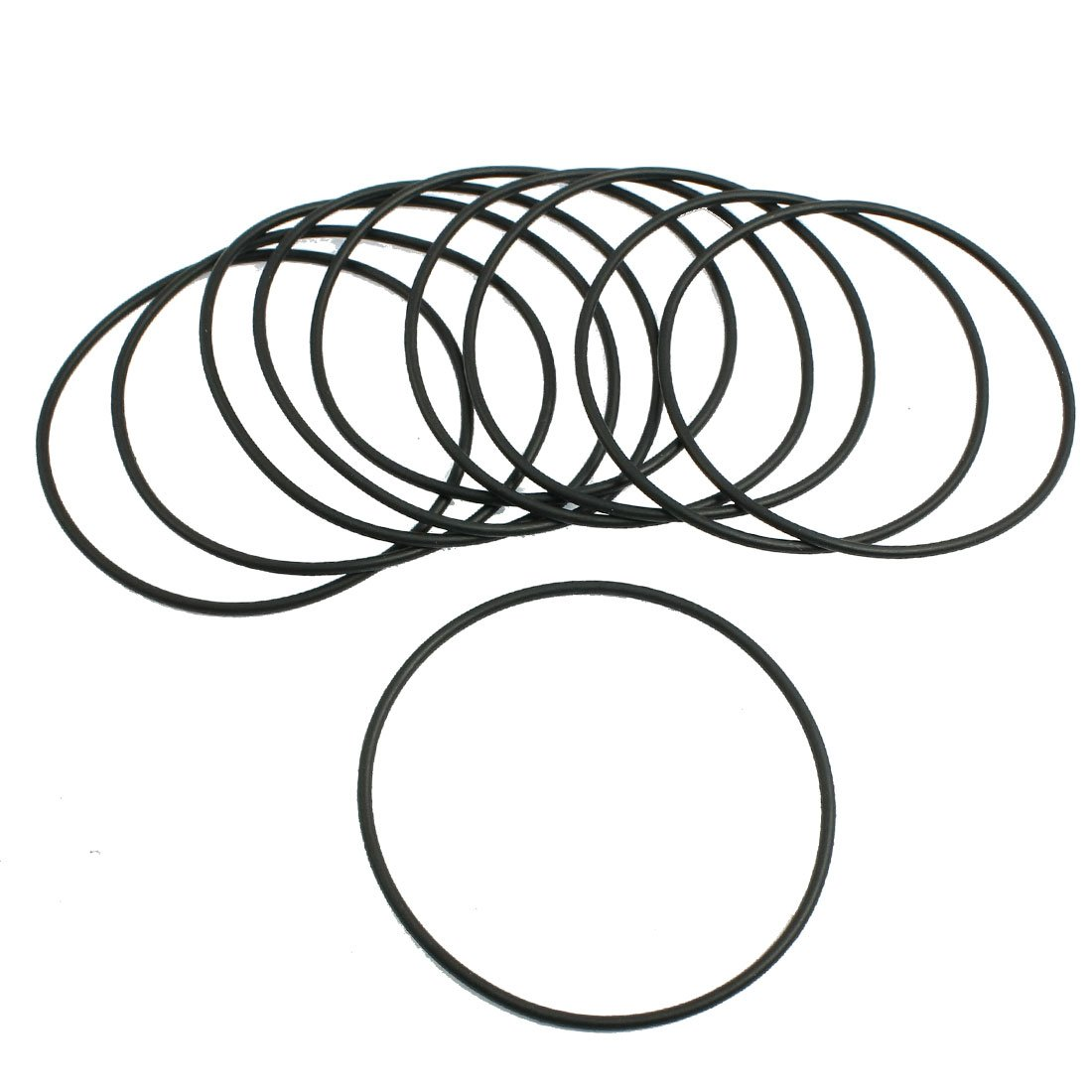uxcell 2mm x 65mm Black Rubber Sealing O Ring Seal Washer Grommets 10 Pcs
